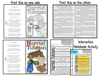Harriet Tubman: Biography Reading Passage: Interactive Notebook Activities
