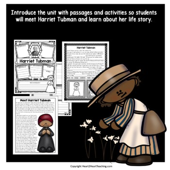 Harriet Tubman Biography Unit with Articles, Activities, Character Traits & Quiz