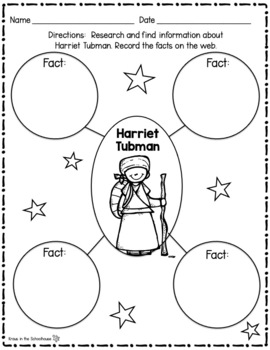 Harriet Tubman Research Activity Sheets and Graphic Organizers
