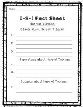 Harriet Tubman 3-2-1 Fact Sheet