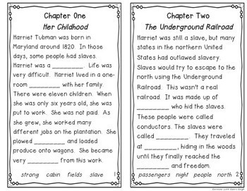Harriet Tubman Instant Reading Lesson
