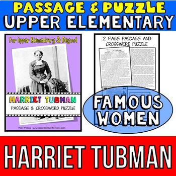 Harriet Tubman Biography: Passage and Comprehension Crossword Puzzle