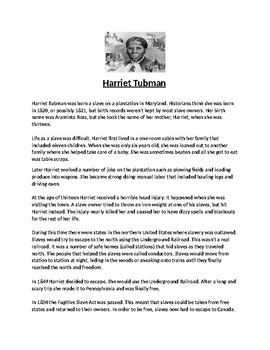 Harriet Tubman Biography Article and Assignment Worksheet