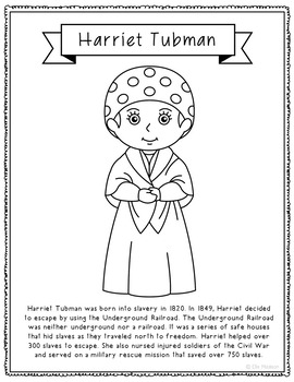 Harriet Tubman Biography Coloring Page Craft or Poster, African American