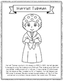 Harriet Tubman Biography Coloring Page Craft or Poster, Af