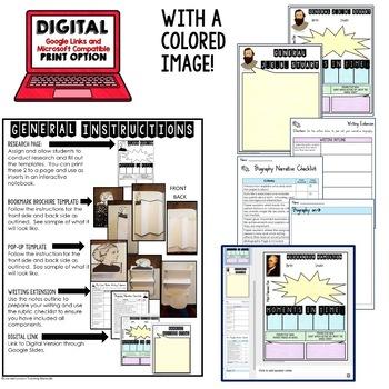 Harriet Tubman Biography Research, Bookmark Brochure, Pop-Up, Writing
