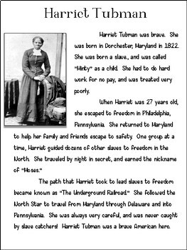 Harriet Tubman Biography Research Packet