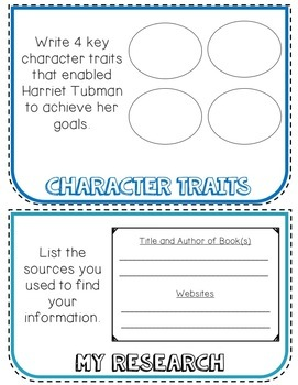 Harriet Tubman Biography Research Project, Flip Book, Women's History Month