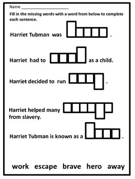 Black History Hero Harriet Tubman Biography and Fun Acitivites (Black History)