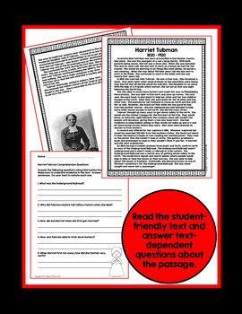 Black History Month ~ Harriet Tubman ~ Biography with Comprehension Activities