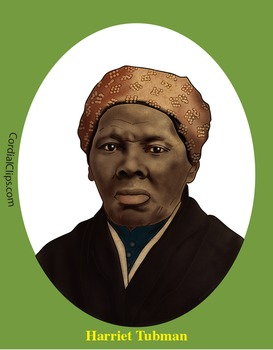 Harriet Tubman Realistic Clip Art, Coloring Page and Poster