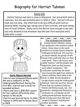 harriet tubman close reading passage and reading comprehension sheet. Black Bedroom Furniture Sets. Home Design Ideas