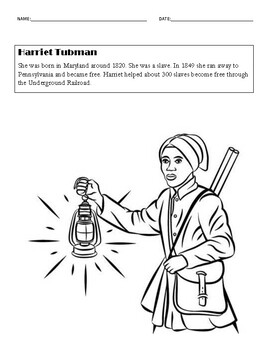 Harriet Tubman Coloring Page Worksheets Teaching Resources Tpt