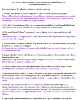 Harriet Tubman: Conductor on the Underground Railroad 15 Comprehension Questions