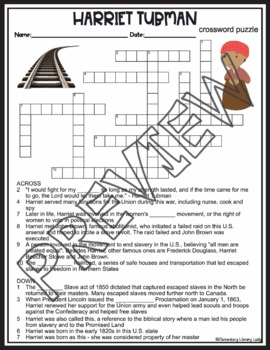 Harriet Tubman Crossword Puzzle and Word Search Find Activities