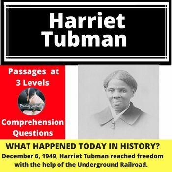 Harriet Tubman, Differentiated Reading Comprehension Passage December 6