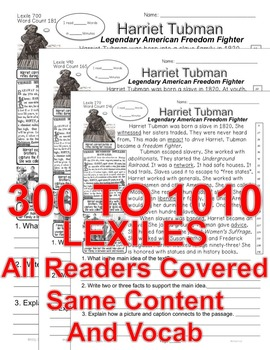 Harriet Tubman FACTS 5 levels Differentiated Info Text ALL-READERS-COVERED