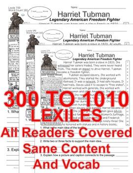 Harriet Tubman CLOSE READING LEVELED PASSAGES Main Idea Fluency Check TDQs