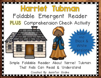 Harriet Tubman Foldable Emergent Reader ~Color & B&W~ PLUS