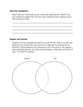 Harriet Tubman Informational Text Study