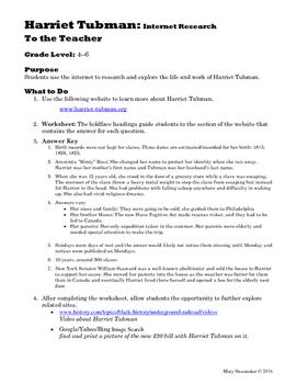 Harriet Tubman: Internet Research