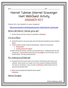 Harriet Tubman Internet Scavenger Hunt WebQuest Activity