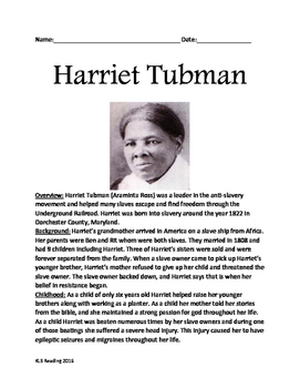 Harriet Tubman - Life story, facts, information lesson questions  true false