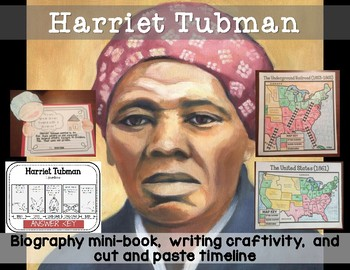 Harriet Tubman Minibook with writing craftivity and map coloring activities