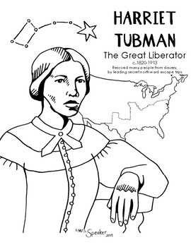 Harriet Tubman North Star Coloring Page By Mrsspeaker Tpt