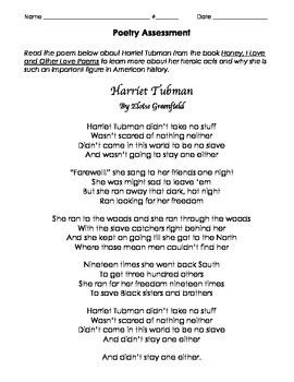 Harriet Tubman Poetry Assessment