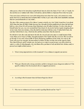 Harriet Tubman Primary Source Stimulus Based Questions