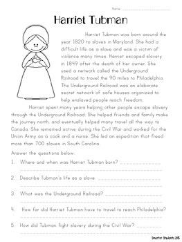 Harriet Tubman {READING COMPREHENSION}