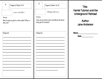 Harriet Tubman Reader's Theater Tri-fold for Benchmark Literacy