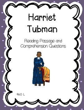 Harriet Tubman Reading Comprehension - Black, Women's History Month