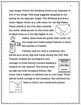 Harriet Tubman Reading Comprehension and Matching