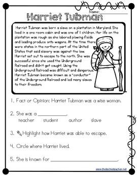 harriet tubman reading passage by the techie teacher tpt. Black Bedroom Furniture Sets. Home Design Ideas
