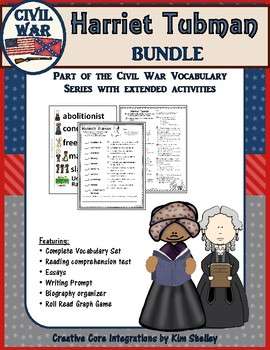 4 Pack - Harriet Tubman Reading and Vocabulary