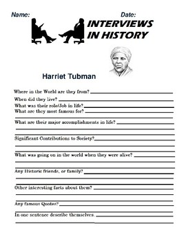 Harriet Tubman Research and interview Assignment