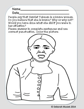 Tactueux image for harriet tubman printable worksheets