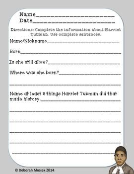 Harriet Tubman Differentiated Fact File - Harriet Tubman