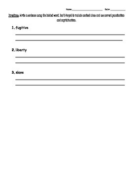 Harriet Tubman Vocabulary Study Guide and Test