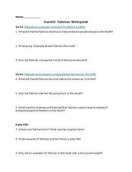 Harriet Tubman Webquest