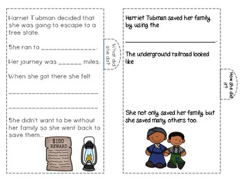 Black History Month ~ Harriet Tubman Write in Book with Tabs! FREEBIE!!