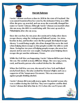Harriet Tubman and Sojourner Truth Black History Month Activities
