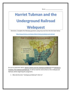 Harriet Tubman and the Underground Railroad- Webquest and Video with Key