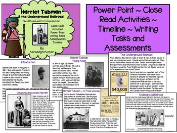 Harriet Tubman/Underground Railroad ELA Unit-PowerPoint, Close Read, & More