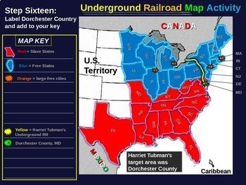 Harriet Tubman's Underground Railroad MAP ACTIVITY (30 slide PPT with handout)