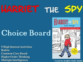 Harriet the Spy Choice Board Novel Study Activities Menu Book Project Rubric