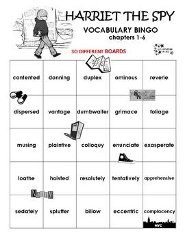 Harriet the Spy Vocabulary Bingo