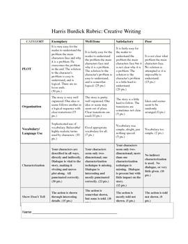 Harris Burdick Creative Writing Rubric - Simple Easy Middle School 6 7 8 9